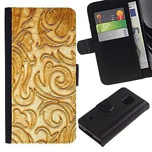 iKiki Tech / Cartera Funda Carcasa - Floral White Fancy Texture Relief - Samsung Galaxy S5 SM-G900