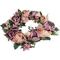 Dolity Upscale Artificial Peony Flower Door Wreath Garland Hanging Home Garden Decorations - Garland B4, 37 x 37 x 10 cm