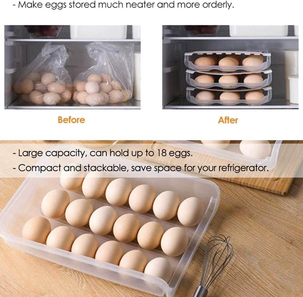 Titular Desplazamiento Autom/ático De Almacenamiento Del Huevo Caja De Almacenamiento Bandeja De Huevos Los Huevos Multifuncional De Almacenamiento En Rack Refrigerar Los Huevos Para Los Ahorradores