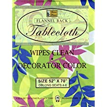 "Better Home Vinyl Tablecloth Green Leafs Decorator Design Flannel Backed (52""x70"" OBLONG)"