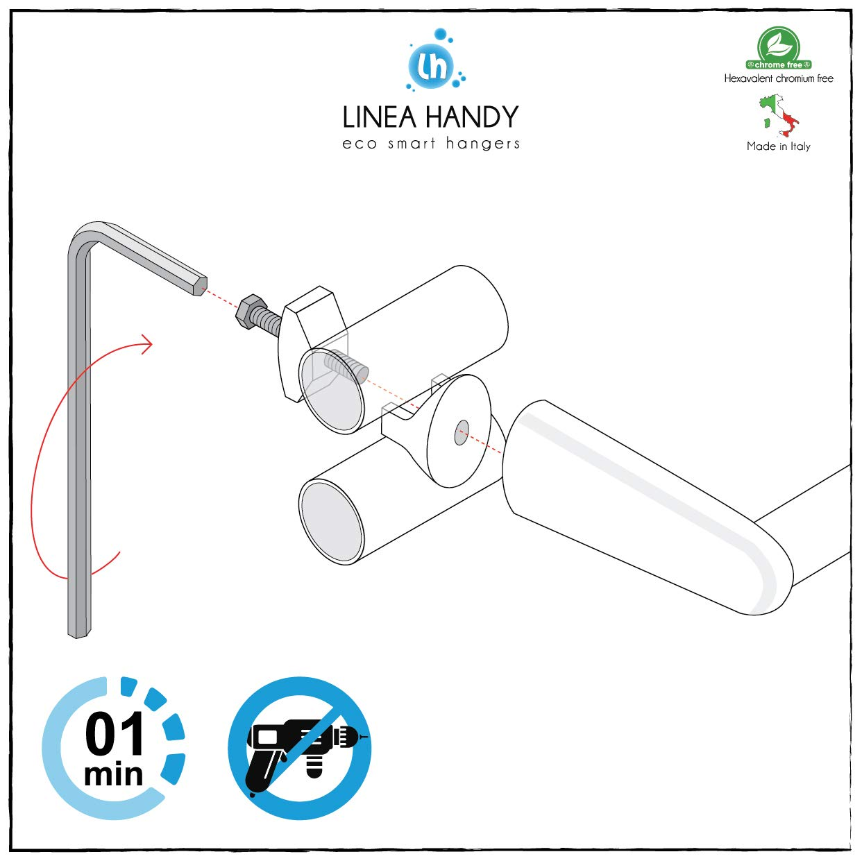 /Radiateur s/èche-Serviettes chrom/é/ /1/pi/&eg /Ne Trous Plus Les carrelage et ne Pas Utiliser la Colle Parce Que Se Fixe Directement sur Le Ton/ Handy Flex/ /Porte-Serviette/