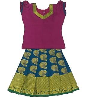 17cf65562e Pattu Pavadai Baby Girls & Kids Traditional Silk Pavadai (Peacock Blue)