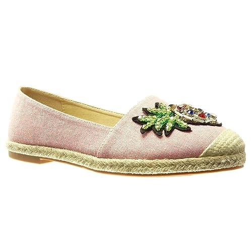 Angkorly Zapatillas Moda Alpargatas Mocasines Slip-On Jeans Denim Mujer Joyas Bordado Fantasía Tacón Ancho 2 cm - Rosa RS134 T 39: Amazon.es: Zapatos y ...