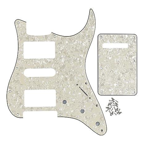Fleor - Placa trasera para guitarra eléctrica Fender con 11 orificios, 4ply, aged pearl