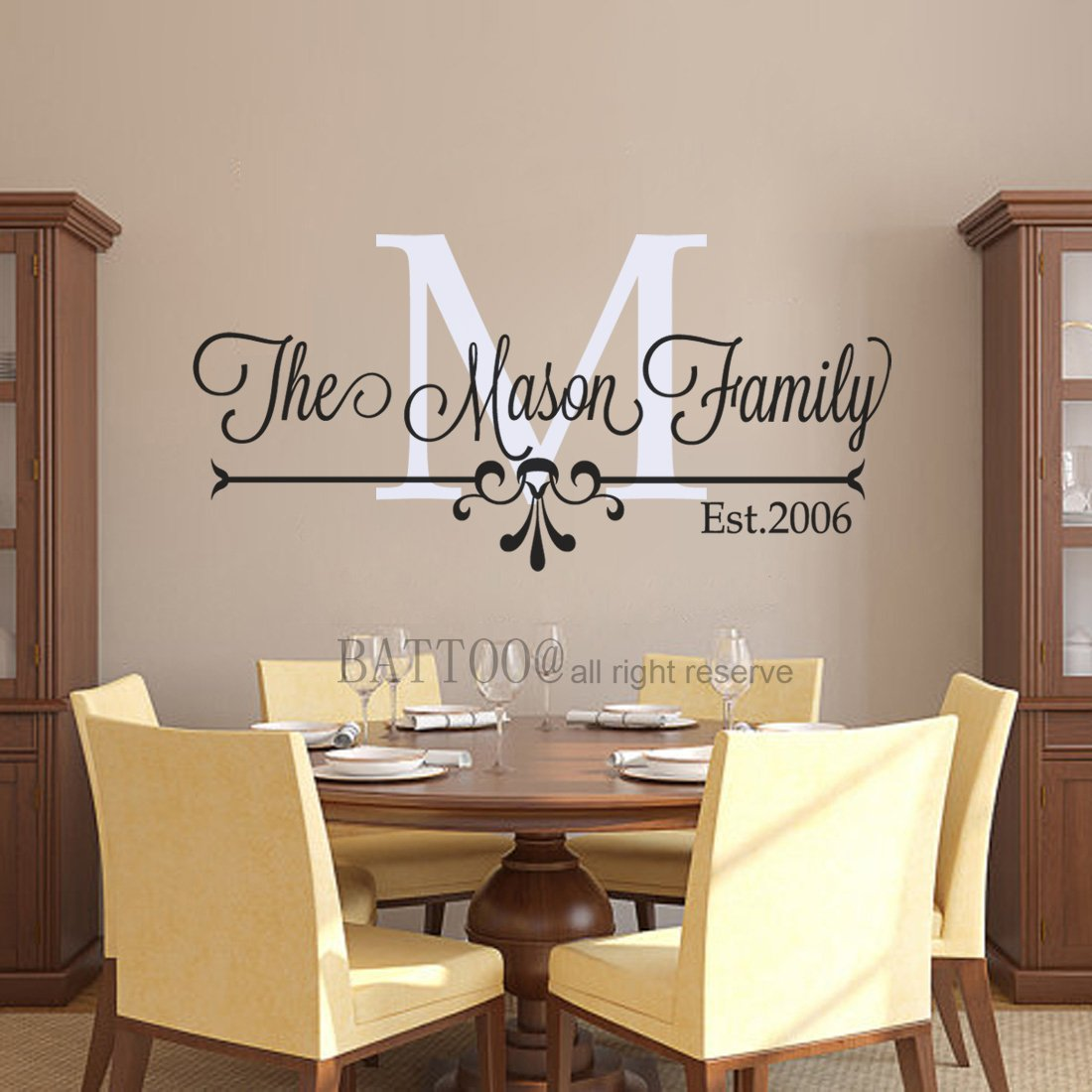 Battoo family name wall decal custom wall decal living room decor family established decal personalized wall decals vinyl 50 wide by 22 tall plus free