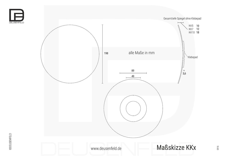 Deusenfeld miroir cosm/étique /ø 20 cm miroir /à coller au mur profonde de colle 3 m rond miroir