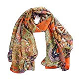 Datework Women Chiffon Printed Silk Long Soft Scarf Shawl (Orange)