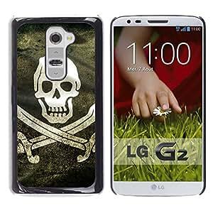 LG G2 - Impreso colorido protector duro espalda Funda piel de Shell (Pirate Grunge Flag)