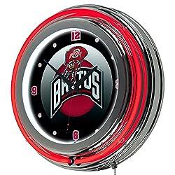 NCAA Ohio State University Rushing Brutus Chrome Double Ring Neon Clock, 14