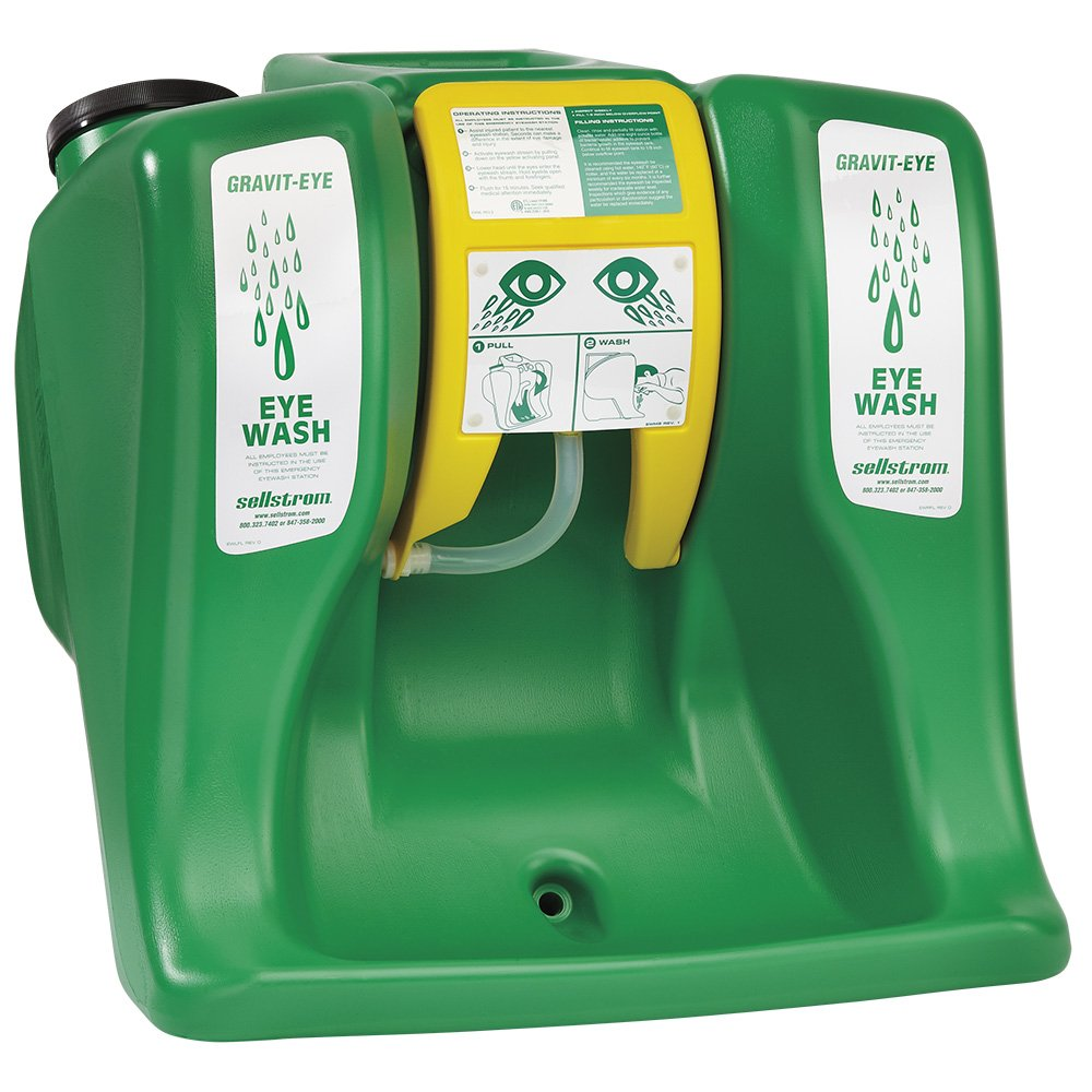 Sellstrom S90320 Gravit-Eye 16 Gallon All-Purpose, Gravity Flow, Portable Eyewash Unit, Green, Made in USA by Sellstrom