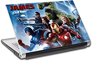 """The Avengers Personalized LAPTOP Skin Decal Sticker ANY NAME Iron Man Hulk L414, 13"""""""
