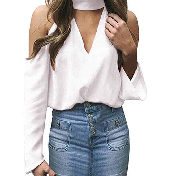 Tefamore Blusas de Mujer de Moda Elegantes 2018 Cuello En V Camisetas Manga Larga