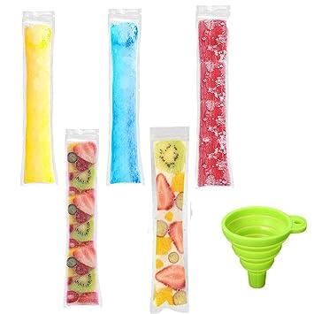 Paquete de 100 bolsas para moldes de helado, desechables, con cremallera, para congelador, para hacer hielo, helados y chucherías congeladas, sin BPA, ...