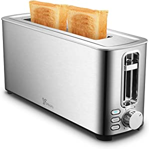 2 Slice Toaster Stainless Steel Toasters with 1.5 Inches Wide Slot Bagel, Defrost, Cancel Functions 6 Shade Settings for Home Family