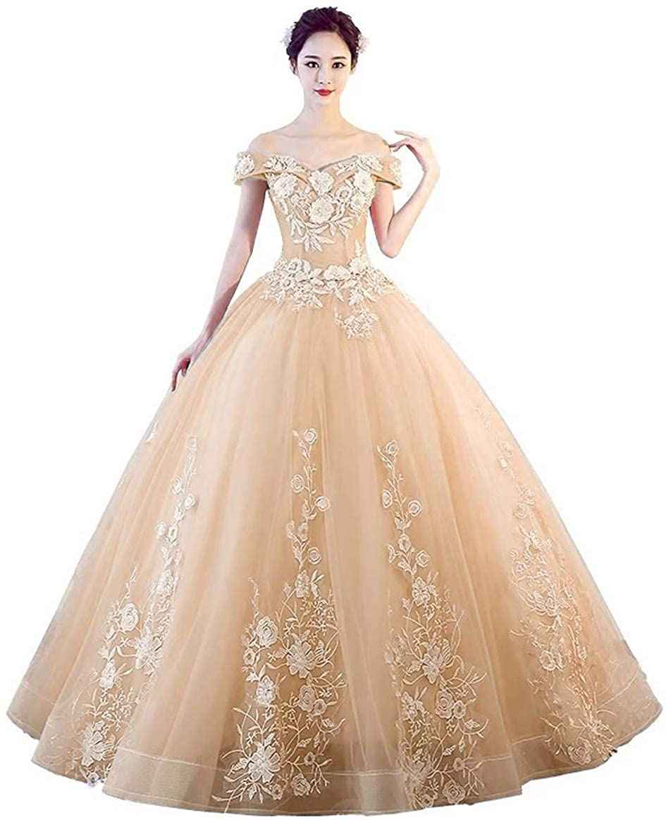 Champagne Jingliz Off The Shoulder Quinceanera Dresses Applique Masquerade Ball Gowns Prom Dresses
