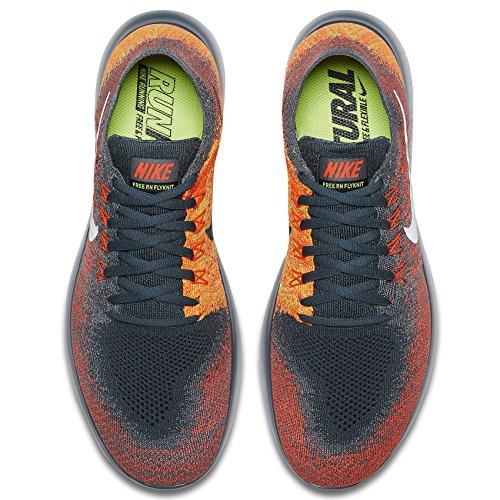 Nike Free Rn Flyknit 2017 880843-401 Blauwe Vos / Witte / Crimson Hardloopschoenen Heren