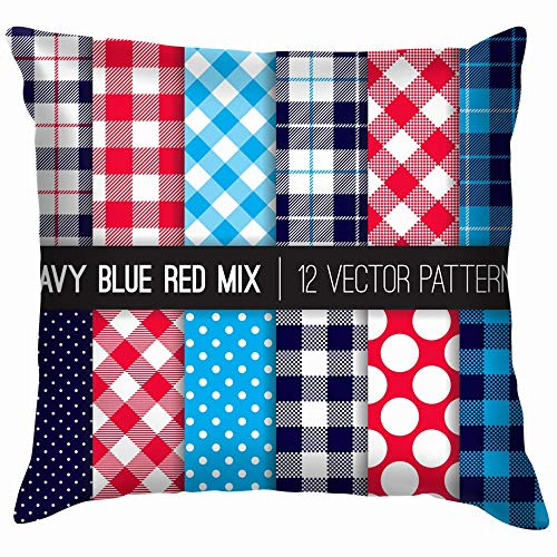 Patriotic Red White Blue Polka Dots Gingham Holidays Soft Cotton Linen Cushion Cover Pillowcases Throw Pillow Decor Pillow Case Home Decor 20X20 Inch ()
