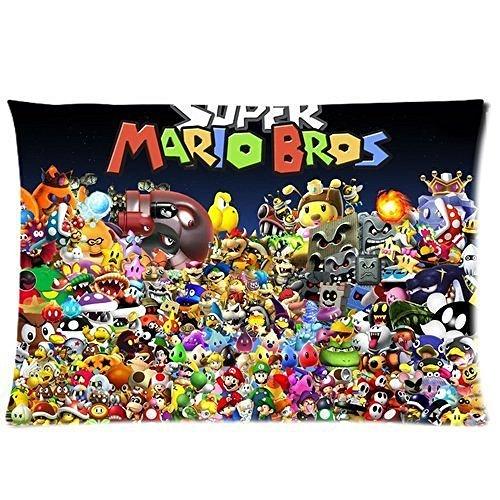 Custom Super Mario Bros funda de almohada tamaño estándar 20 ...