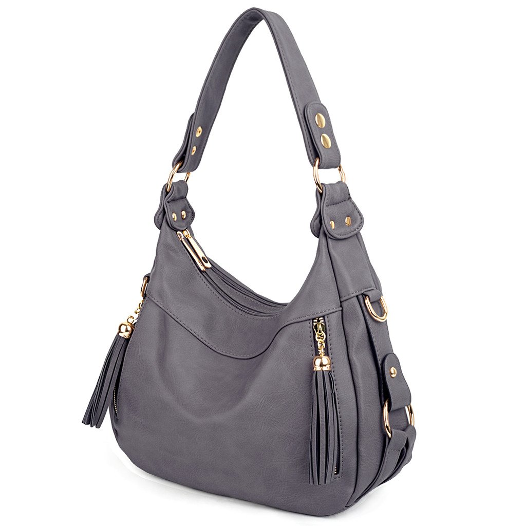 UTO Women Handbag PU Leather Purse Hobo Style Shoulder Bag Grey
