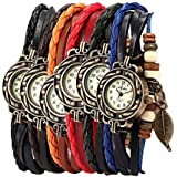 Yunanwa Pack of 6 Women's Watches Vintage Wrap Around Bead Leaf Bracelet Quartz Wholesale Set