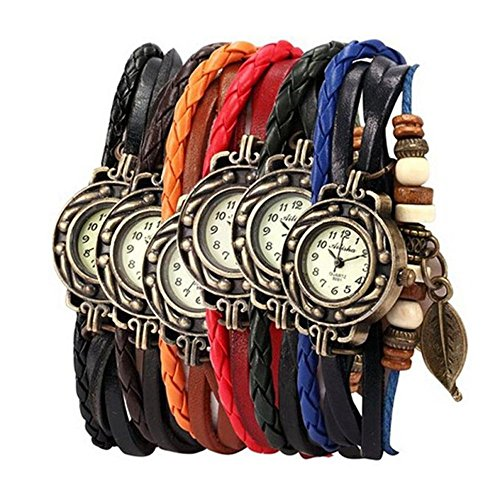 Yunanwa Pack of 6 Women's Watches Vintage Wrap Around Bead Leaf Bracelet Quartz Wholesale Set from yunanwa