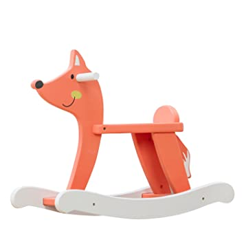 Labebe Baby Rocking Horse Wooden, Orange Fox Rocking Horse For Baby Up 1  Year,