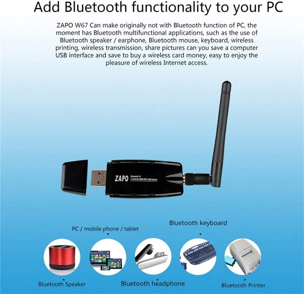 NSST WiFi Adapter 600M Bluetooth 4.0 Dual Frequency 2.4G-5.8G USB2.0 Dongle Wireless Adapter Wi-Fi Network Card for Desktop Computers