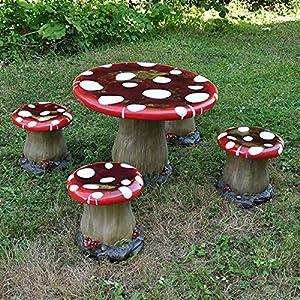 Mushroom Table U0026 Chairs Set (1 Table U0026 4 Stools)   Childrenu0027s Novelty Garden  Furniture Toadstool Pixie Fairy