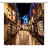 BCNEW Harry Potter Shower Curtain Decor Night View Street Diagon Alley Stores Magic World Bathroom Curtain Polyester Fabric Machine Washable with Hooks 70x70 Inches