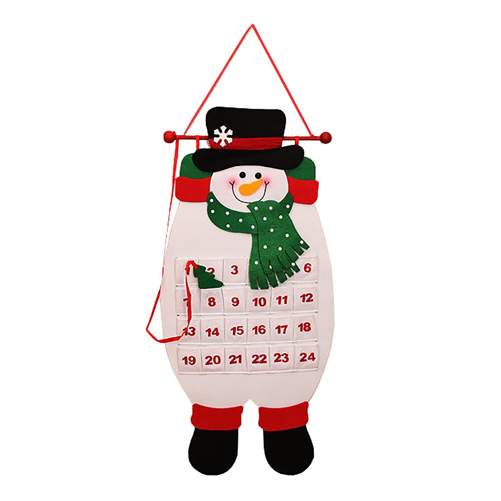 Mmrm Christmas Advent Calendar With Fabric Pockets Wall Hanging Countdown for Kids (Snowman)