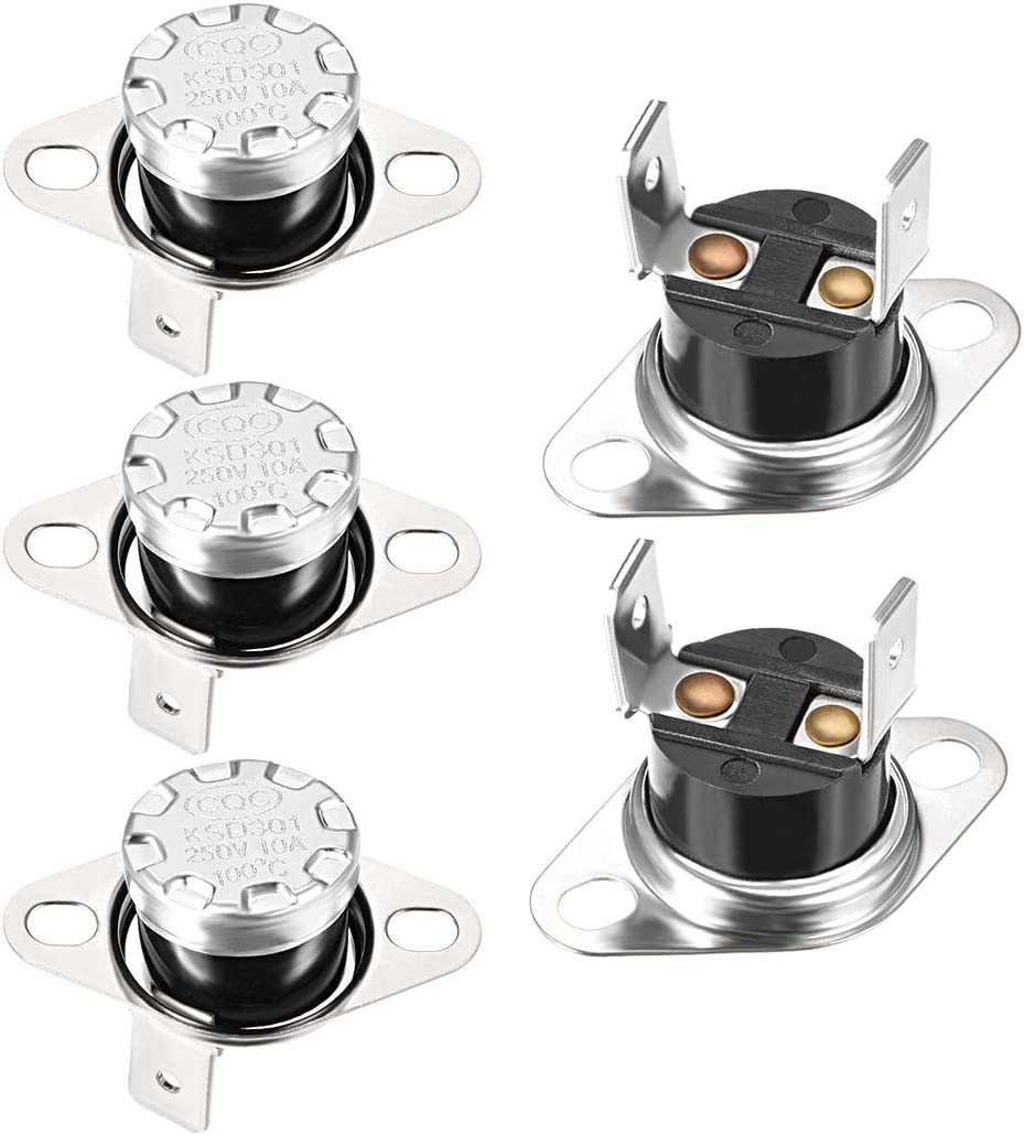 uxcell KSD301 Thermostat 100°C/212°F 10A Normally Open N.0 Adjust Snap Disc Temperature Switch for Microwave,Oven,Coffee Maker,Smoker 5pcs