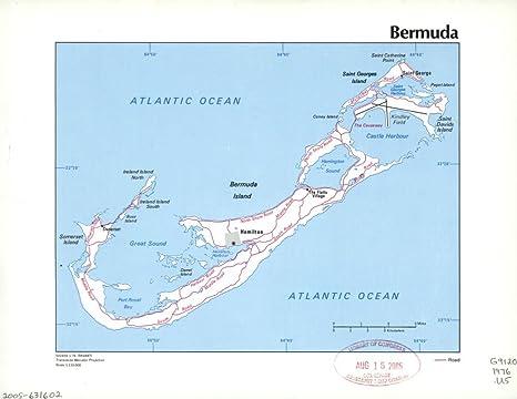 Amazon.com: Vintography 1976 Map of Bermuda. Bermuda Islands ...