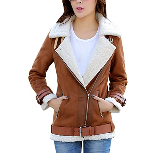 Zhhlaixing Women's Korean Lapel Coat Cotton Jacket Short Thick Padded Comfortable Warm Mujeres Abrig...