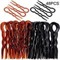 48 Pieces Plastic U Shaped Hair Pins Lady Style Grip Hair Pins Fast Spiral Hair Grip for Women Girls Hairstyle Accessories