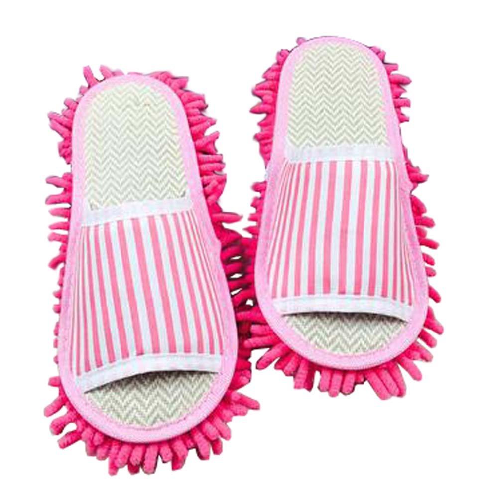 Kreative waschbare Mop Hausschuhe Boden Reinigung Hausschuhe rosa Streifen Blancho Bedding