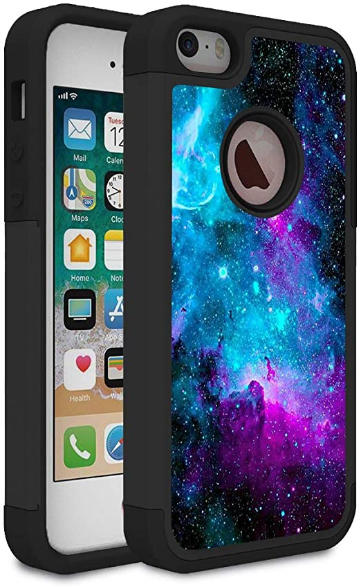 iPhone 5S Case,iPhone 5 Case,iPhone SE Case,Rossy Galaxy Nebula Space Design Shock-Absorption Dual Layer Hard PC and Soft Silicone Protective Case ...