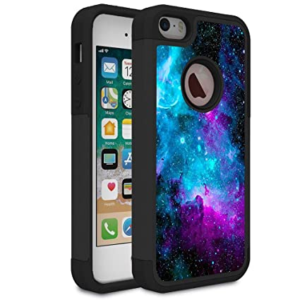 promo code 5239a eb67b iPhone 5S Case,iPhone 5 Case,iPhone SE Case,Rossy Galaxy Nebula Space  Design Shock-Absorption Hard PC and Soft Silicone Dual Layer Hybrid Armor  ...