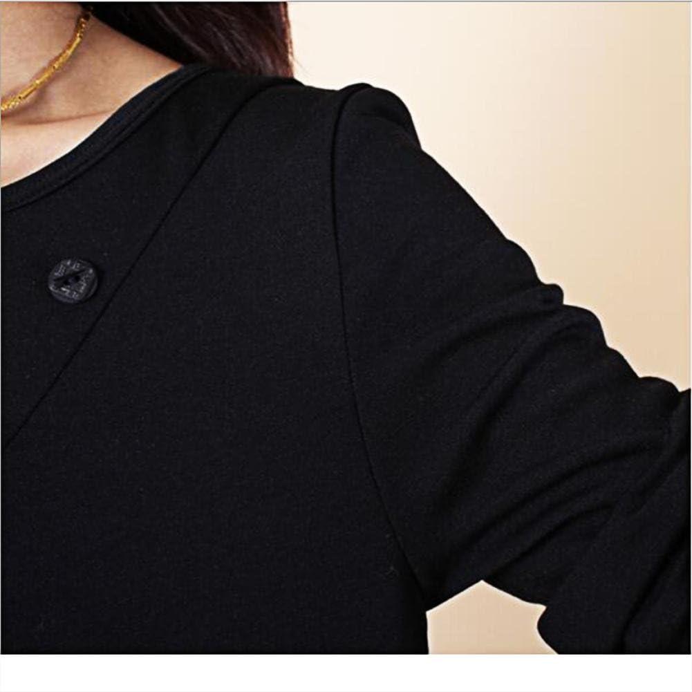 Bust 92CM YANXH Women Loose Blouses Leisure T-Shirt Folds Pocket Round Neck Long Sleeves Tops Dress Armygreen Asian M