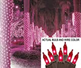 2' x 8' Pink Mini Christmas Net Style Tree Trunk Wrap Lights - Brown Wire