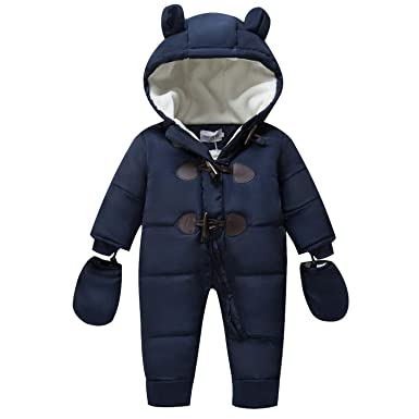 e7c40259fbb2b TeenMiro Baby Winter Jumpsuit Newborn Fleece Romper Infant Snowsuit Pattern  Deep Blue