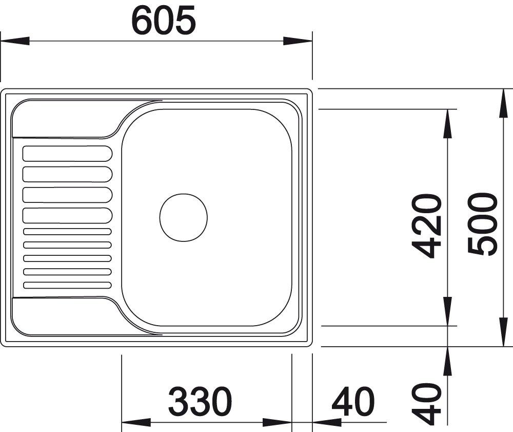 Fregadero de cocina Blanco 516053 Tipo 45S 1 cubeta y 1 escurridor, acero inoxidable cepillado