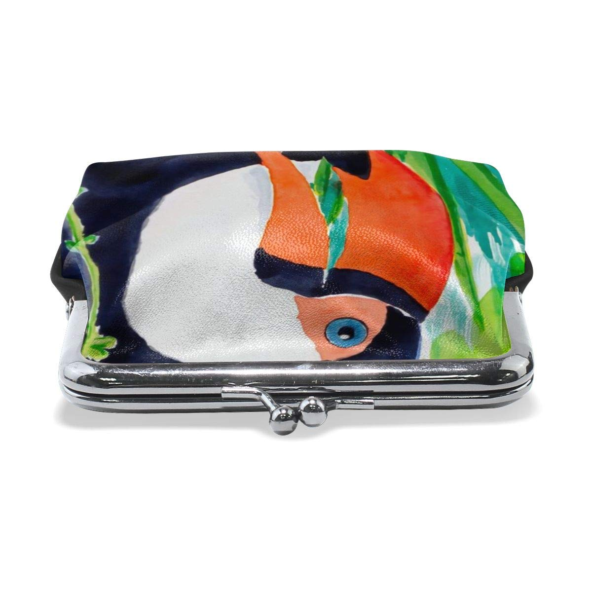 Beaks Toucan Tropical Art Green Vintage Pouch Girl Kiss-lock Change Purse Wallets Buckle Leather Coin Purses Key Woman Printed
