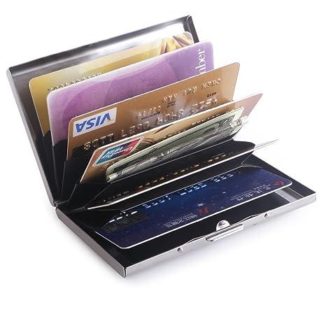 Teemzone Metálicos Tarjetero de Espejo Funda Tarjeta Crédito de Acero Inoxidable (Plata Acordeón)