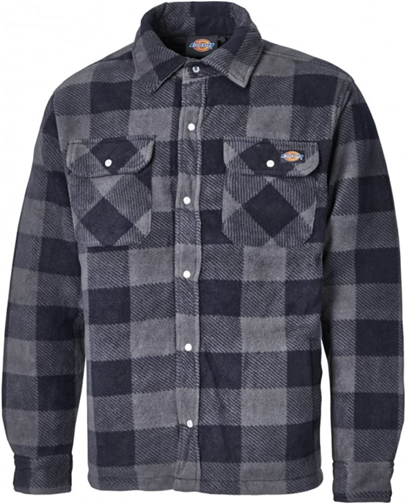 Dickies Portland Shirt Padded Work Shirt Jacket Polar Fleece Check Design Studded Front Opening Chest Pockets Comfort Warm SH5000