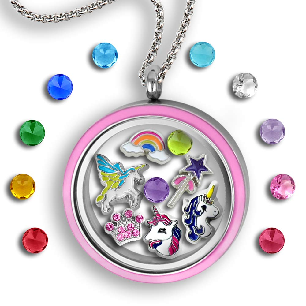 Unicorn Necklace for Girls | Floating Charms Unicorn Locket Necklace Pink Unicorn Jewelry for Girls | Unicorn Gifts for Women With Unicorn Charms Unicorn Pendant Cute Necklaces for Kids Princess Charm