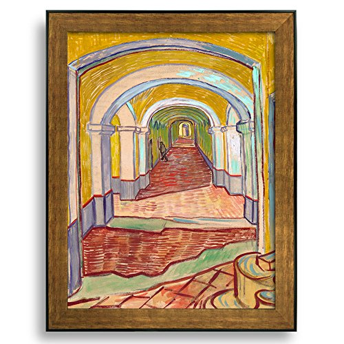 Corridor of Saint Paul Asylum in Saint Remy by Vincent Van Gogh Framed Art Print Famous Painting Wall Decor Bronze and Black Frame