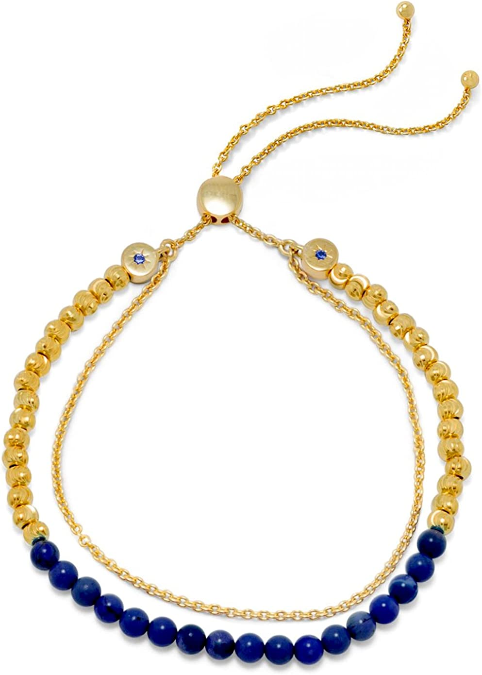 Adjusts to 11 inches Lapis 4mm Beads 18K Gold Plated Sterling 2-Strand Bolo Bracelet