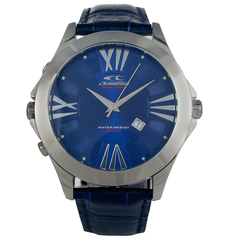 Chronotech CHTCT.7636M - 05 Herren Edelstahl Lederband Blau Zifferblatt Uhr