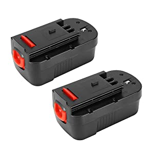 POWERAXIS 2-Pack Battery 244760-00 18V NICD Replacement Battery for Black&Decker HPB18-OPE HPB18 A1718 A18 A18E Firestorm FS180BX FS18BX FS18FL FSB18 NST2118 Black and Decker 18v Battery(Black)
