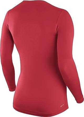 5b3a86ff NIKE Pro Long-Sleeve Ladies V-Neck Shirt, Red, M: Amazon.co.uk: Clothing